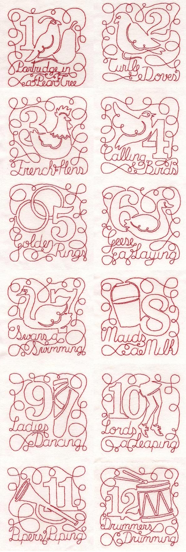 12 Days of Christmas Free Motion Embroidery Machine Design Details