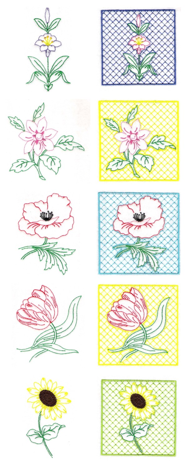 Machine embroidery designs simple florals set